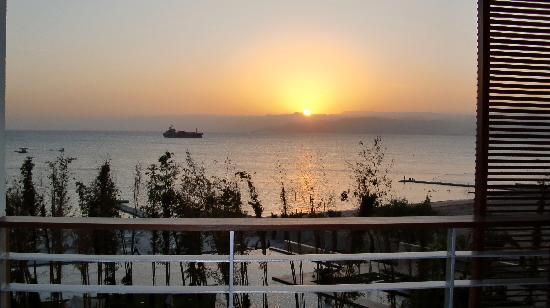 Kempinski Hotel Aqaba Red Sea: sunset from balcony