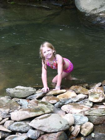 Valle Crucis Farm: Going down the river rapids on the property.