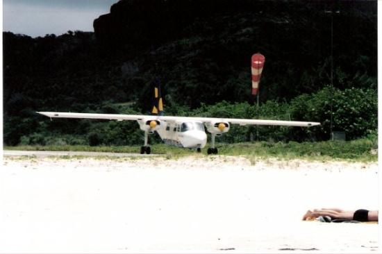 Plane At End Of Runway On St Jean Beach Notice How Close