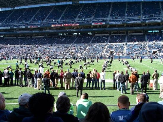 CenturyLink Field: view of warmups from our seats.