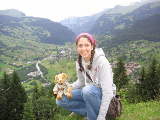 Pfingstegg: there i am with teddy on top of the mountain, overlooking the city of Grindelwald