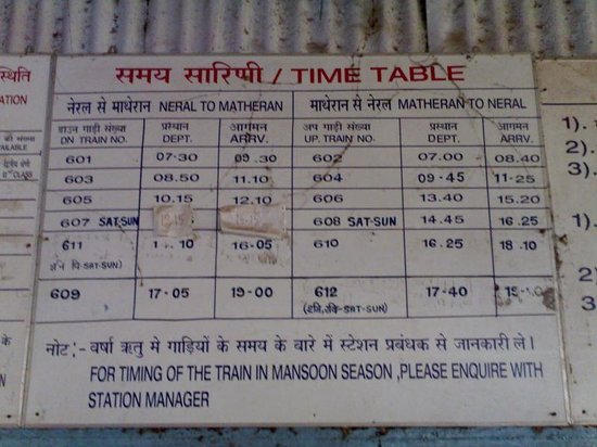 Anandritz: Neral-Matheran-Neral Timetable :)
