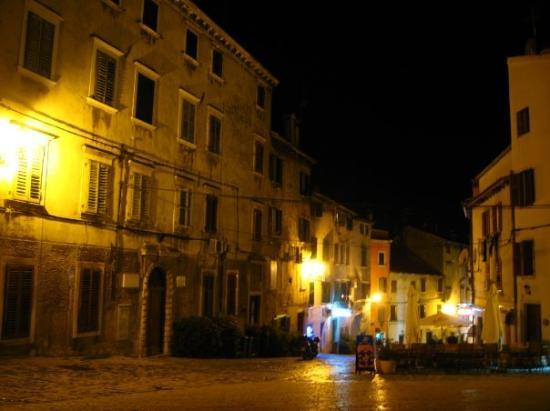 Streets of Rovinj after dark.
