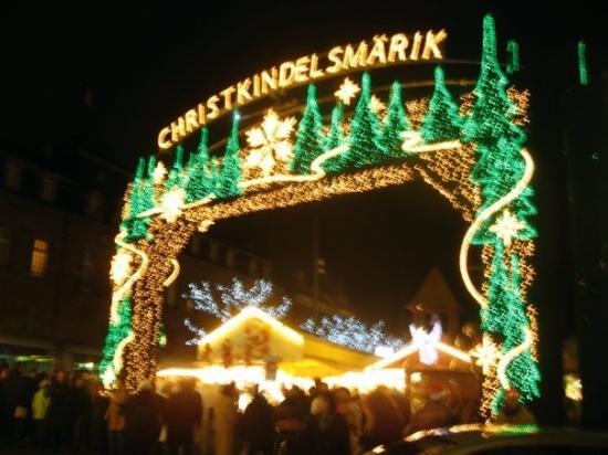 Christmas Market (Christkindelsmarik): Part of the Christmas market.