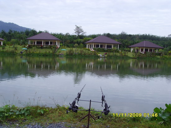 Gillhams Fishing Resorts: looking across the lake to the bungalows