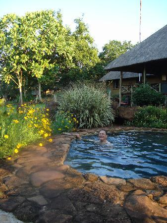 Rock-a-Bye Bed & Breakfast: Husband in plunge pool looking towards main house