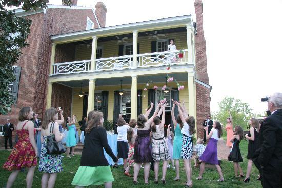 Clover Forest Plantation: I tossed the bouquet from our balcony -- nobody but me knew that it would burst into dozens of l