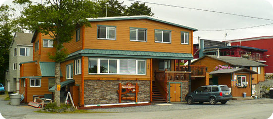 A view of the outside of the Wild Strawberry Lodge