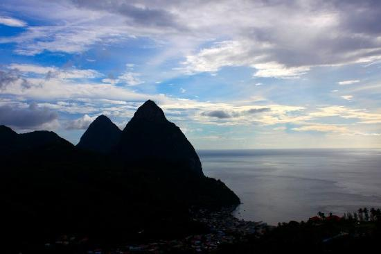 Evening view of the Pitons.