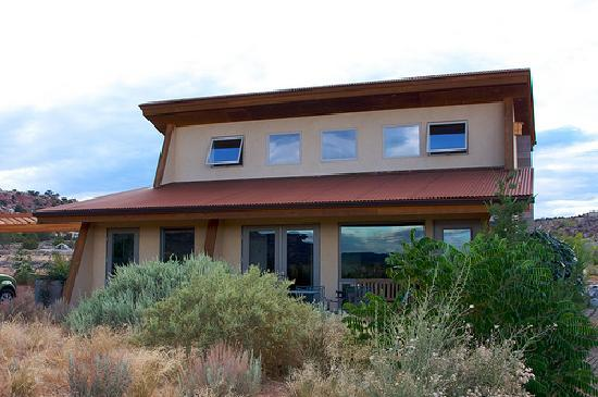 The La Luz Desert Retreat guest home as viewed from the front.  Escalante, UT.
