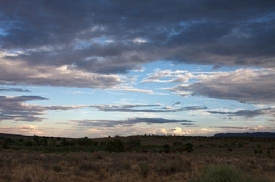 Facing south, the view from La Luz Desert Retreat.  Escalante, UT.