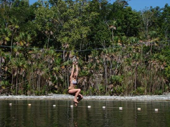 Parque Cenote Las Mojarras: Emoción en uso de tirolesa