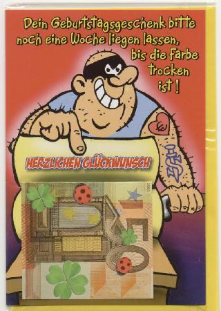 Money Museum (Geldmuseum der Deutschen Bundesbank): 'appy Boidday, but let'em dry foist [postcard at Geld Museum