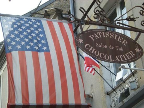 Lots of American, British, and Canadian flags in Bayeux