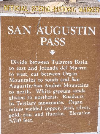 San Agustin Pass: close up of the official NM historic marker, West side