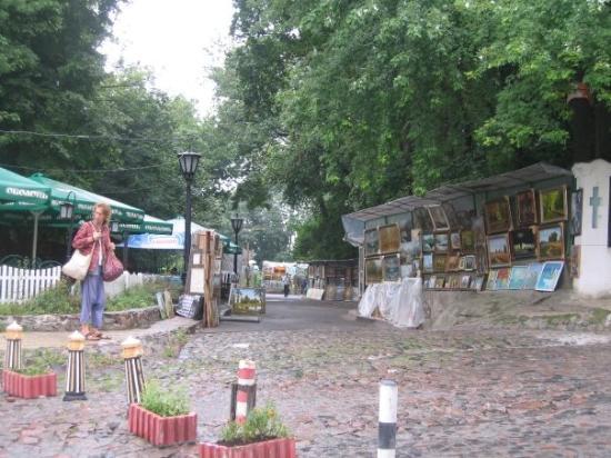 Andriyivski Uzviz: Andriyivskyy Uvziz  Literally Andrew's Descent. Probably the most well known street in Kiev. M
