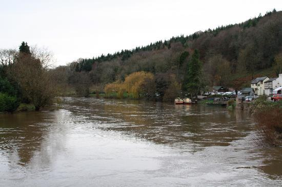 The Saracens Head Inn: View of the village with a very high river Wye