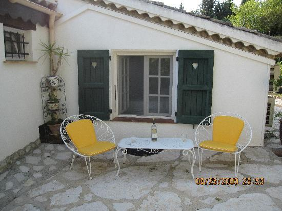Le Hameau: View of room from outside patio.