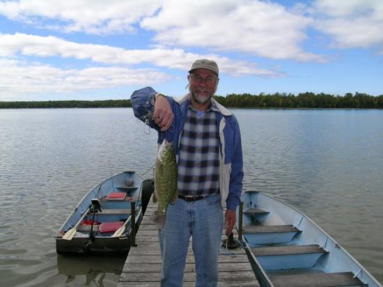 Baileys Harbor, WI: Ken and his prize catch from Kangaroo Lake in '07