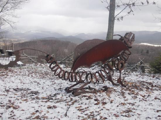 Laurel Point Retreat: Sculpture made by owners' son, with mountain view