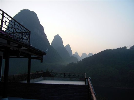 Li River Resort: View in the morning from our balcony (room 302)