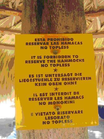 Iberostar Bavaro Suites No Topless Sign