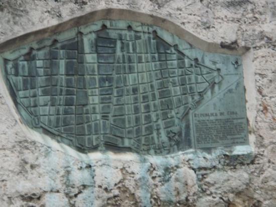 Callejon de Hamel: Map of Havana cast in stone on the old wall.