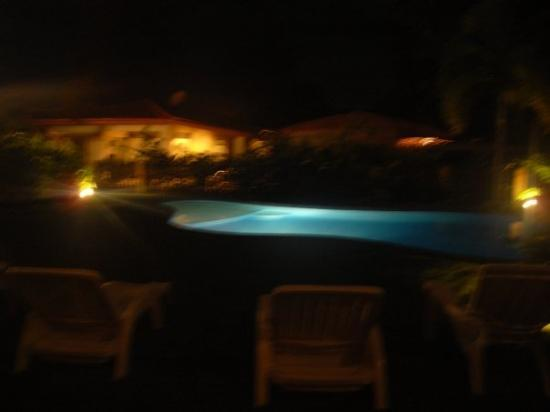 View of pool from room at Hotel Green in Jaco