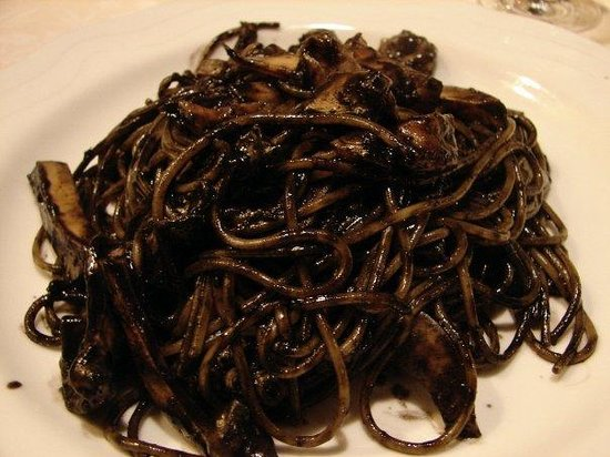 Taverna San Trovaso : Venice, Italy Black Squid Pasta, a must have for Venetian Authentic Cuisine, follow with a Grapp