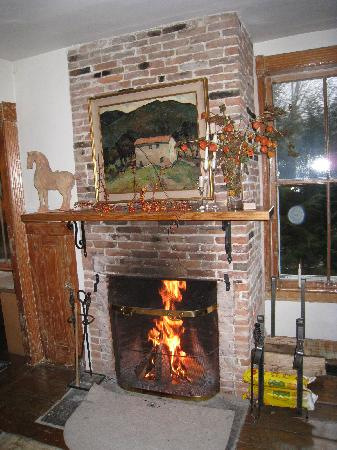 Fan House Bed and Breakfast: The cozy fireplace