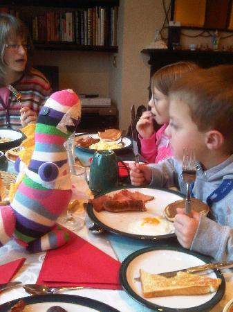"Pinegrove Lodge: Balltmena Breakfast with ""Sockosauras"" the class Mascott"