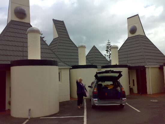 The interesting exterior of the Sandcastle motel.