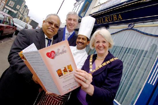 Dilruba Restaurant: Outside the Dilruba with Rugby Lord Mayoress
