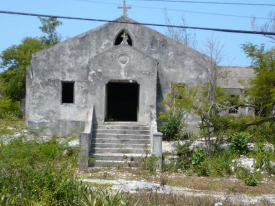 Cat Island: abandoned Catholic church. to the right is an even older Catholic church, but its doors are lock
