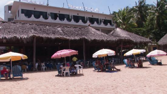 Hotel Cordelias: view of Hotel Cordelia from Playa Panteon, Puerto Angel