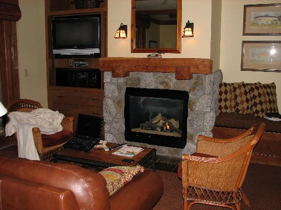 Hyatt High Sierra Lodge: A view of the fireplace in our villa