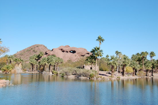 Phoenix, AZ: One of the fishing lakes with Hole in a Rock in the distance