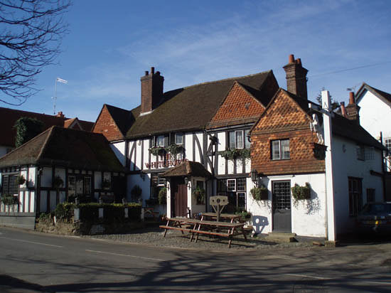 Shere, UK: The pub cross the square, The White Horse