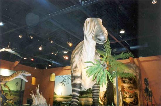 Dinosaur Isle: Life sized model Iguanodon set in a Cretaceous landscape