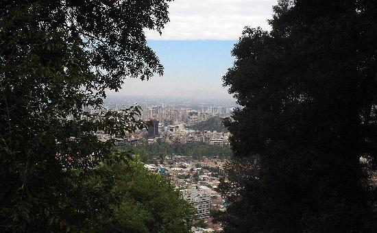 Santiago, Chile: peekaboo view from the top of San Cristobal