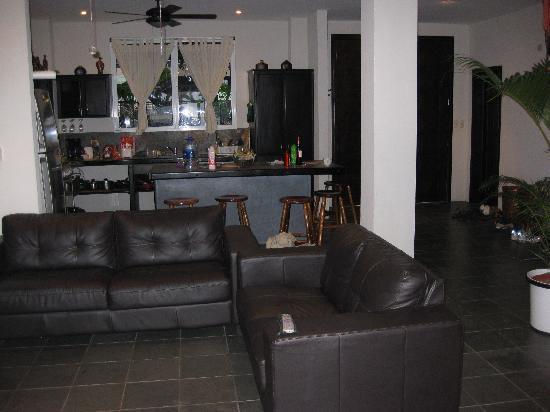 Villa Manuel Antonio: main floor living room looking into the kitchen