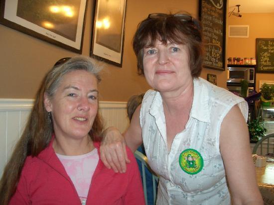 Irish Tea Room: Chef and Proprietor, Pat, with happy diner