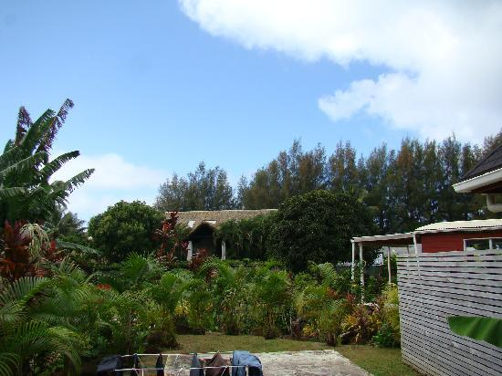 Dorothy's Muri Beach Bungalows: view from back deck (pacific resorts last bungalow in front)