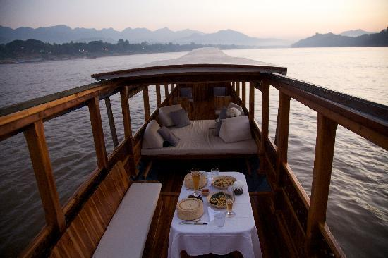 Amantaka: On the sunset cruise on the Mekong