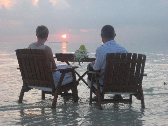 Baros Maldives: Sunset on our own private sandbank