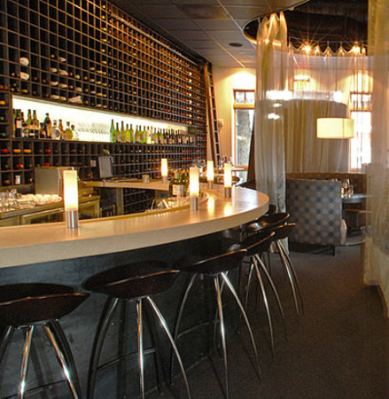 Django's Restaurant & Wine Bar : Bar and wine wall