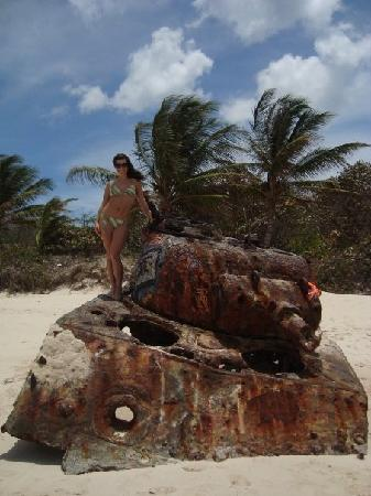 """Mamacitas Guest House: This is one of the Army Tanks that are on Flamenco Beach. They remain there as part of the """"sigh"""