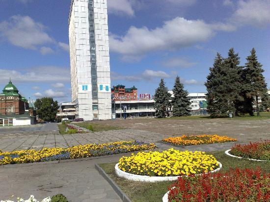 Ulyanovsk, Russia: Blick v.d. Wolga in Richtung Hotel Wenez