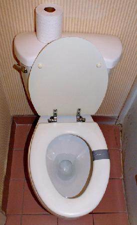 Scottish Inns Dunmore: Duct tape on toilet seat.