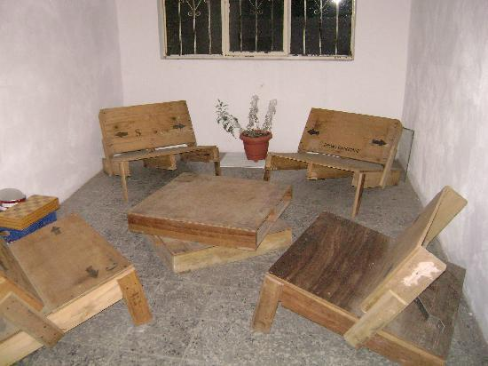 Lukas Hostel : Another seating area (notice what I meant by wood furniture)